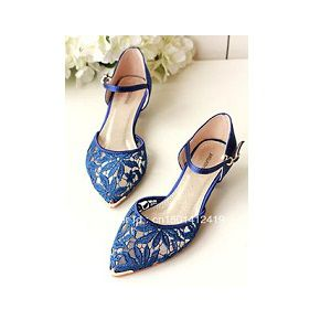 Ladies Party Navy Blue Flat Shoes