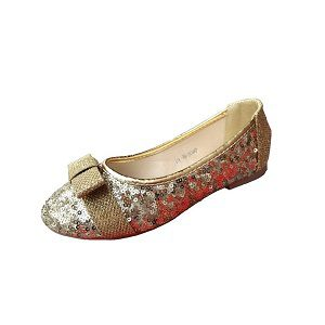 Ladies Party Gold Flat Shoes