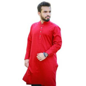 Red Cotton Casual Panjabi