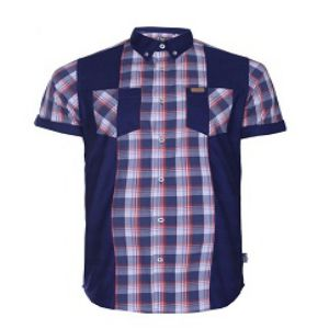 BLUE COTTON CASUAL SHORT SLEEVE SHIRT