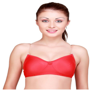 Shotorong Floret Transparent Belt Non Padded Cotton Bra : Orange Red