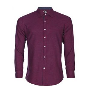 MAROON COTTON CASUAL LONG SLEEVE SHIRT
