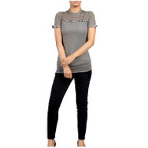 Womens KNIT FASHION TOP GREY