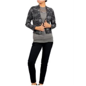 Double site use Womens Bolero Top BLACK PRINTED