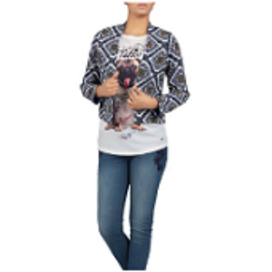 Double site use Womens Bolero Top BLUE PRINTED
