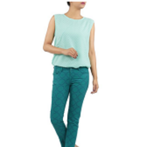 Womens Trouser TURQUOISE PRINTED