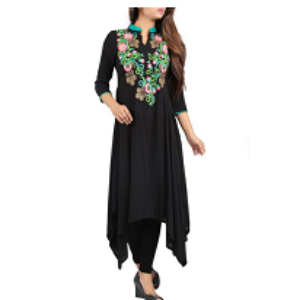 Embroidered Ethnic Top Z BLACK