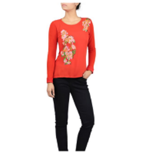Womens KNIT FASHION TOP LT RED