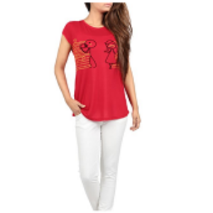 Womens Knit Tee Shirt RED