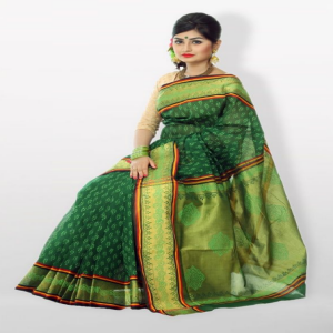 Hurrah Cotton Green Saree Price BD | Hurrah Cotton Green Saree