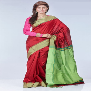 Maroon Tosor Silk Saree  Price BD | Maroon Tosor Silk Saree
