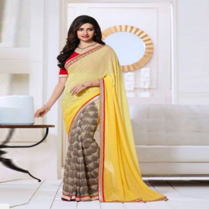 Yellow and Brown Saree Price BD | Georgette Saree