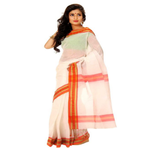 Cotton Saree Price BD | Red And White Cotton Saree