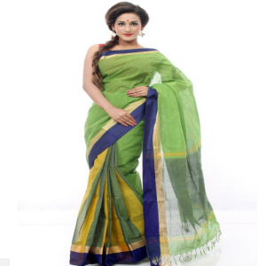 Green Tant Cotton Saree Price BD | Green Tant Cotton Saree
