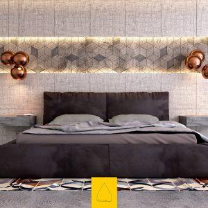 Venetian Modern Bedroom With Brilliant Accent Walls