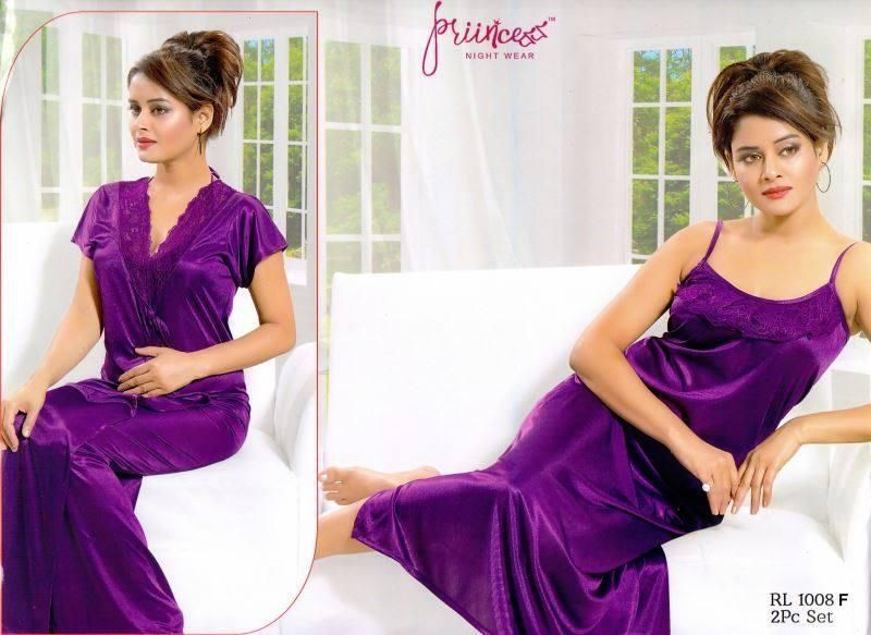 Satin Solid Women Purple Nighty Set 2 Part   Orf