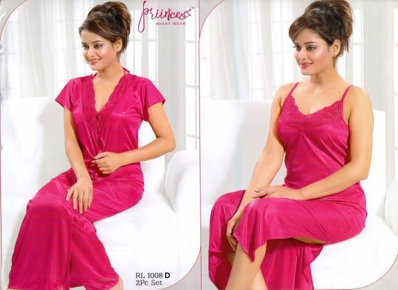 Satin Solid Women Robe Nighty Set   2 Part